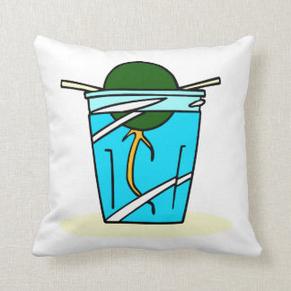 avacado abstract pit growing in water throw pillow