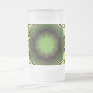 Avacado green with black lines frosted glass beer mug