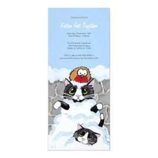 """Avalancha del gato y ese fiesta festivo del invitación 4"""" x 9.25"""""""