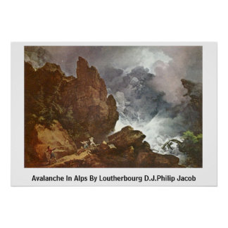 Avalanche In Alps By Loutherbourg D.J.Philip Jacob Print