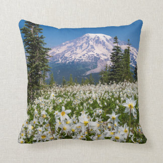 Avalanche lilies and Mount Rainier 2 Pillow