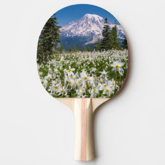 Avalanche lilies and Mount Rainier 2 Ping Pong Paddle
