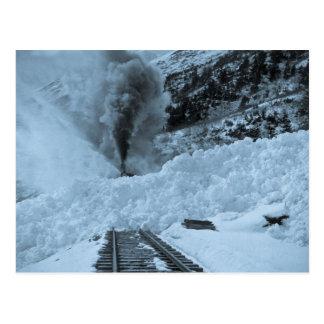 Avalanche Train Tracks Vintage Locmotive Postcard