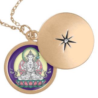 Avalokiteshvara (tib. Chenrezig)-Compassion Buddha Round Locket Necklace