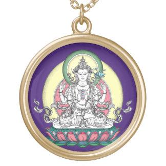 Avalokiteshvara (tib. Chenrezig)-Compassion Buddha Round Pendant Necklace