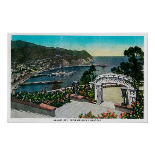 Avalon Bay from Wrigley's Gardens Poster