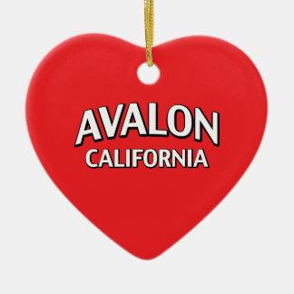 Avalon California Double-Sided Heart Ceramic Christmas Ornament