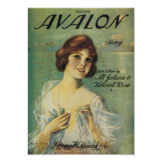 Avalon Song VIntage Songbook Cover Print