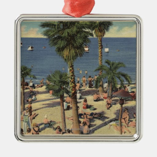 Avalon View of Beach w/ Sunbathers Ornament