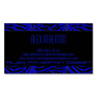 Avant Garde Blue Zebra Business Card
