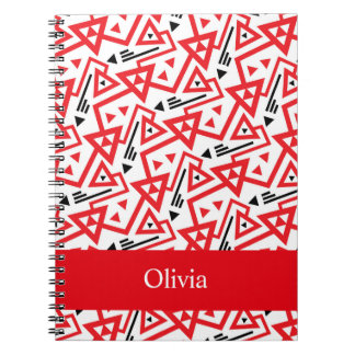 Avant-garde bright red and black geometric pattern notebook