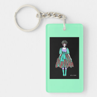 Avant-garde green and red party dress keychain