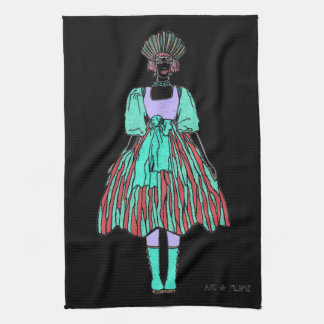 Avant-garde green and red party dress kitchen towel