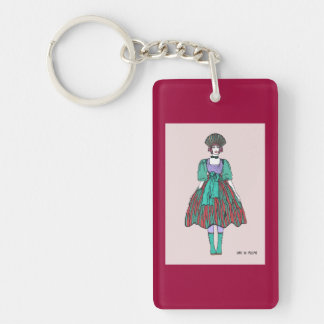 Avant-garde green and red party dress Single-Sided rectangular acrylic keychain
