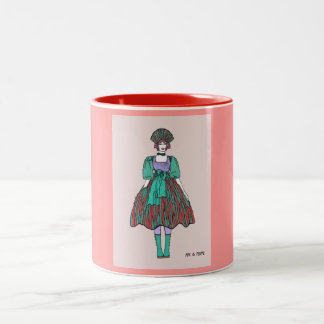 Avant-garde green and red party dress Two-Tone coffee mug