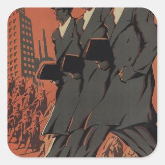 Avant! Travelers, brokers_Propaganda Poster Square Sticker