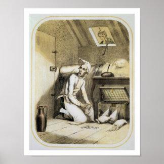Avaricia en la cocina, de una serie de las impresi póster