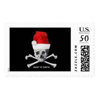 Avast Ye Santa Holiday Pirate Skull Art Postage