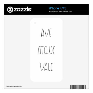 AVE ATQUE VALE iPhone 4 SKIN