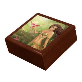 Ave del paraíso de la caja de regalo joyero cuadrado grande