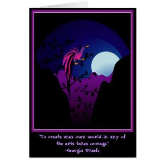 Ave del paraíso iluminada por la luna tarjeta de felicitación