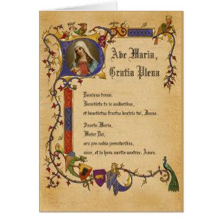 Ave Maria Hail Mary in Latin Decorative Border Card