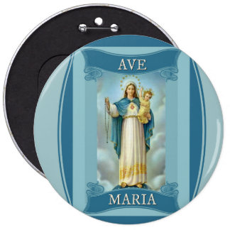 AVE MARIA VIRGIN MARY CHRIST CHILD Rosary Pinback Button