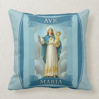 AVE MARIA VIRGIN MARY CHRIST CHILD Rosary Throw Pillow