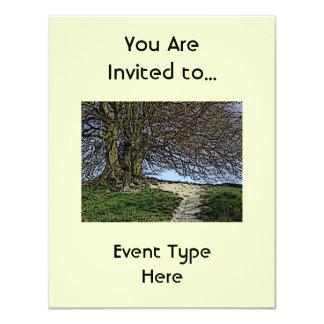Avebury, Wiltshire, England. Tree and path. Card