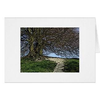 Avebury, Wiltshire, Inglaterra. Árbol y Tarjeta De Felicitación
