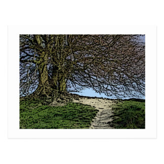 Avebury, Wiltshire, Inglaterra. Árbol y Tarjeta Postal