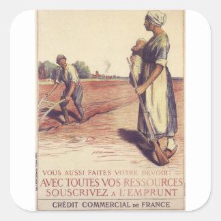 Avec Toutes Vos Ressources Propaganda Poster Square Sticker