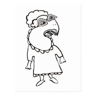 Avellano la señora del pájaro, con los zapatos postales