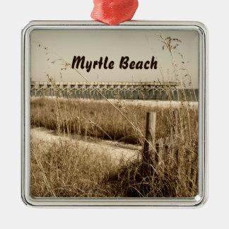 Avena del mar en las dunas en Myrtle Beach Adorno Navideño Cuadrado De Metal