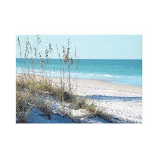 Avena serena del mar de la playa y agua azul impresión en tela