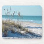 Avena serena del mar de la playa y agua azul alfombrilla de ratones