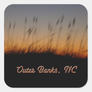 Avena y dunas del mar de Outer Banks NC en la Pegatina Cuadrada