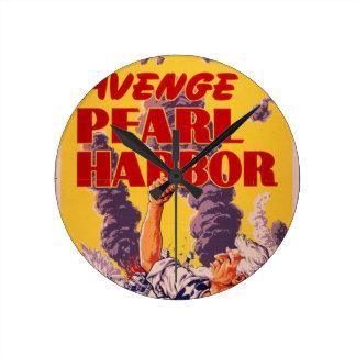 Avenge Pearl Harbor Round Clock