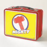 """Avengers Assemble Mighty Thor Logo Metal Lunch Box<br><div class=""""desc"""">Avengers Assemble   Thor   Thor&#39;s icon featuring his hammer Mjolnir with the word &quot;mighty&quot; written across the bottom.</div>"""