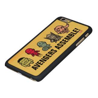 Avengers Assemble - Stylized Line Art Carved Maple iPhone 6 Plus Slim Case