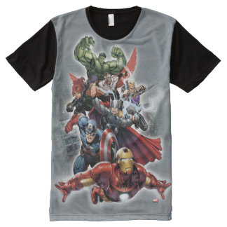 Avengers Attack Graphic All-Over Print T-shirt