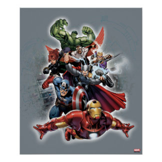 Avengers Attack Graphic Poster