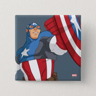 Avengers Cartoon Captain America Character Pose Button