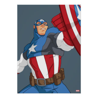 Avengers Cartoon Captain America Character Pose Poster