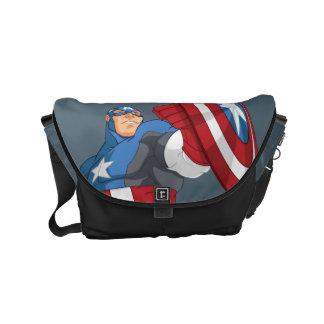 Avengers Cartoon Captain America Character Pose Small Messenger Bag