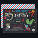 """Avengers Chalkboard Birthday Invitation<br><div class=""""desc"""">Invite all your family and friends to your child's Avengers themed Birthday with these awesome chalkboard Birthday invites. Personalize by adding all your party details!</div>"""