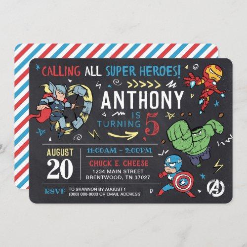 Avengers Chalkboard Birthday Invitation