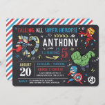 "Avengers Chalkboard Birthday Invitation<br><div class=""desc"">Invite all your family and friends to your child's Avengers themed Birthday with these awesome chalkboard Birthday invites. Personalize by adding all your party details!</div>"