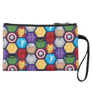 Avengers Character Faces & Logos Badge Wristlet Wallet