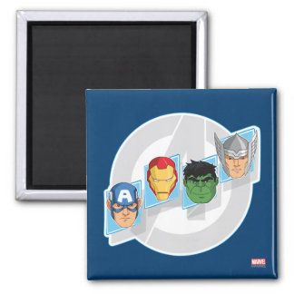 Avengers Character Faces Over Logo 2 Inch Square Magnet